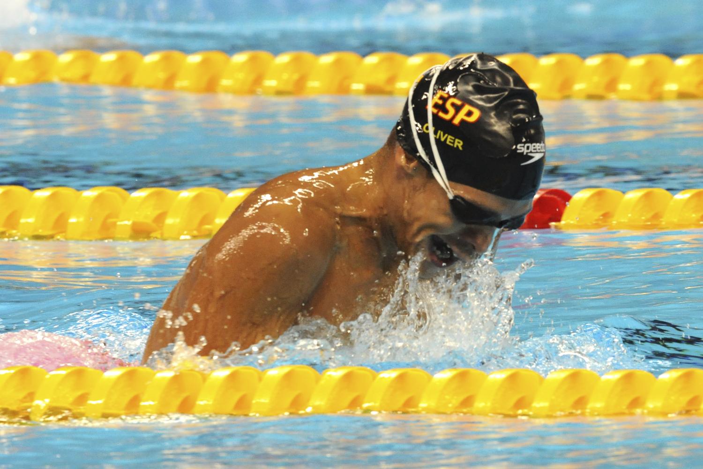 Israel Oliver en plena competición paralímpica